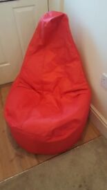 Beanbags. Red blue or black. Very good quality waterproof cover for indoor or outdoor use