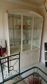 Cabinet and side piece with cut glass