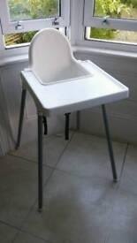 Ikea White Plastic High Chair