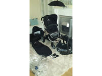 Lovely icandy apple pram travel system maxi cosi carseat, i candy footmuff, parasol excellent con