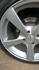 Set of 4 Alloy WHeels good tyres 4 stud 100mm ocd 7inches x 17inches ET40