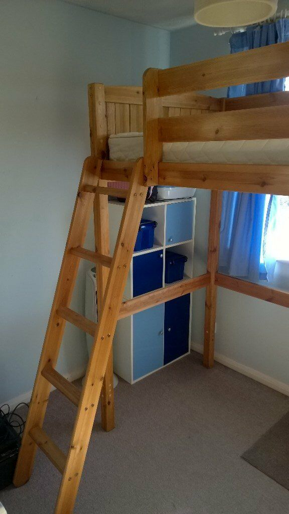 Single Bed Frame And Mattress Solid Pine High Sleeper In