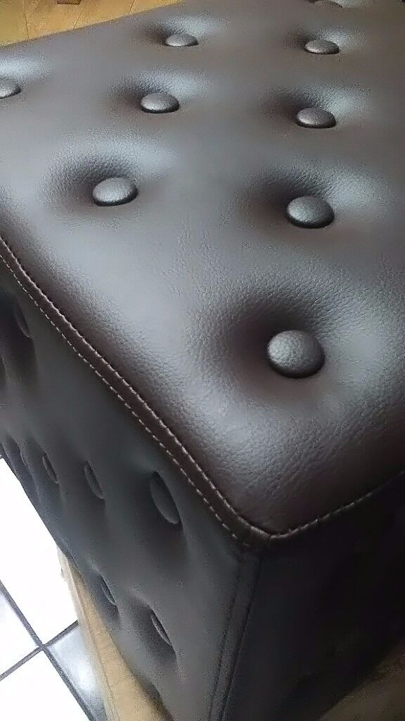 BNIB Footstool,pouffe,Seat,Dark Brown Leather Buttoned Footstool,2 Available £30 ono Each