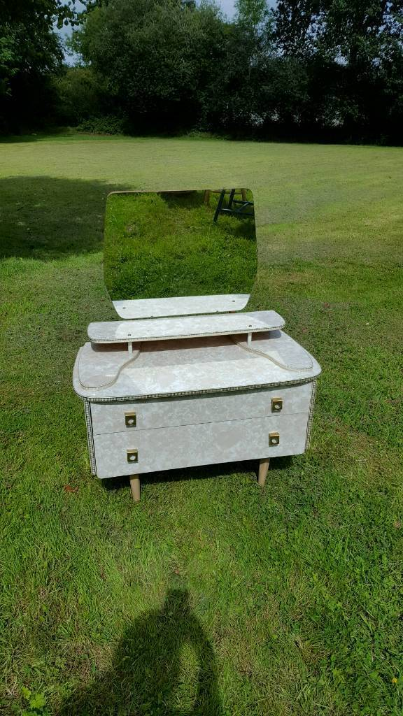 Great vintage dressing table with mirror deco style handles gold edging 2 drawers