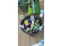 Very large and heavy wooden fairy garden planter.