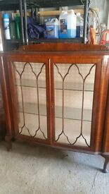 Vintage/antique dressing table, matching small wardrobe and a display unit