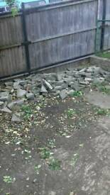 Broken paving slabs