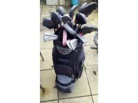 Large set of golf club irons, putters, tees, golf-balls and gloves in a Skymax Sport golf bag.