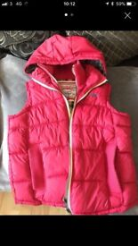 Women's Superdry gilet in large red hooded