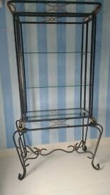 Solid burnished antique bronze/gold on black - Wrought iron display shelving
