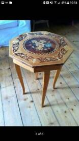 Vintage coffee table with music box inside