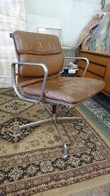 Original 1960's retro Herman miller swival office chair, chrome legs, leather