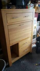 Solid oak storage/drop down desk