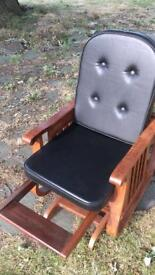 kids solid woo leather padded rocking chair in excellent condition