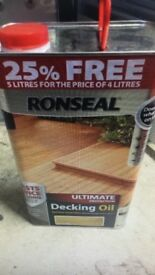 5L Ronseal Decking Protective Oil / Paint. Natural colour 5L Brand New