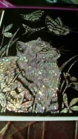 Hand engraved glitter cat