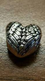silver plated feathered heart charm