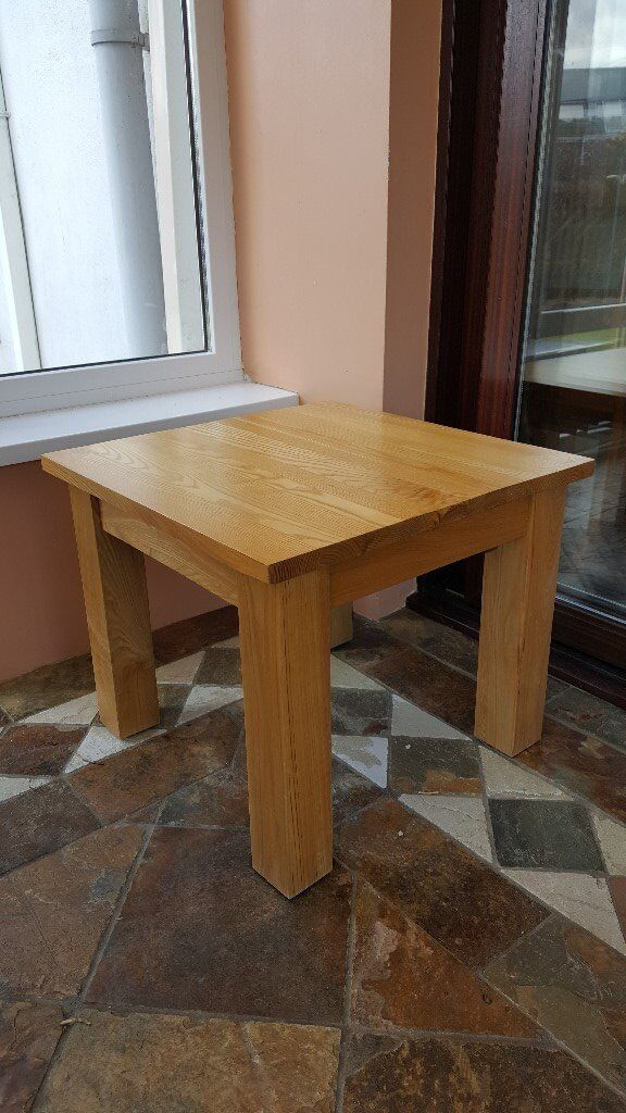 Solid oak large square coffee/side table