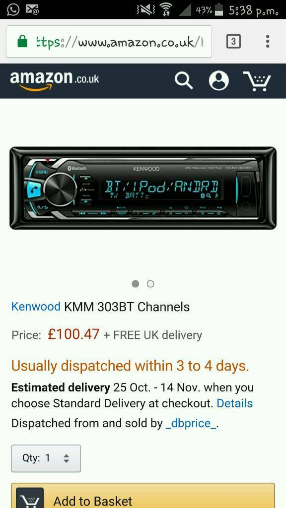 Kenwood Bluetooth USB ipod Stearo