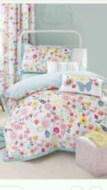 Girls single bedroom bedding and curtains