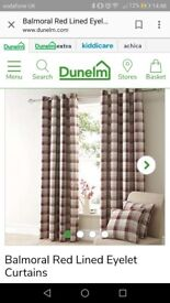 2x sets of shorter and long Balmoral red eyelet curtains from Dunelm