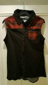 Black/red tartan punk/rock vest, size small (10)