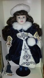 Brass Key Collectable Doll - Victorian Collection - Genuine Porcelain Doll -Ice Skater - Limited Ed