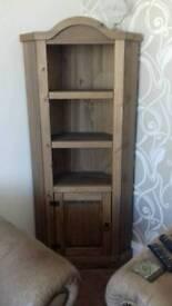 Solid wood corner cabinet in dark wax