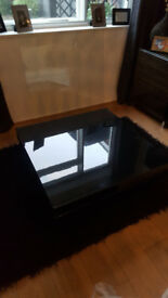 Ikea Tofteryd Coffee table high gloss black with glass