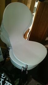 Dining Chairs - set of 5 retro white wood
