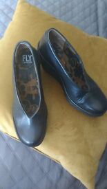 Size 3 Black wedge Fly shoes