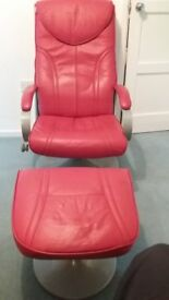 Luxury recliner and stool, Red
