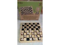 Bamboo Chess Board , Draughts And Tic Tac