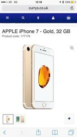 Brand new Apple iPhone 7 gold 32gb