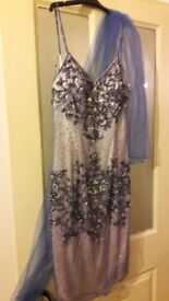 Cocktail beaded dress in blue size 10
