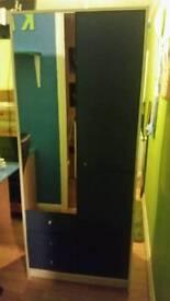 Wardrobe blue drawers and mirror door