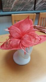 Lovely bright Coral hat for Weddings/Races