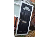 6 Months Old Black Composite Door and White Upvc Frame