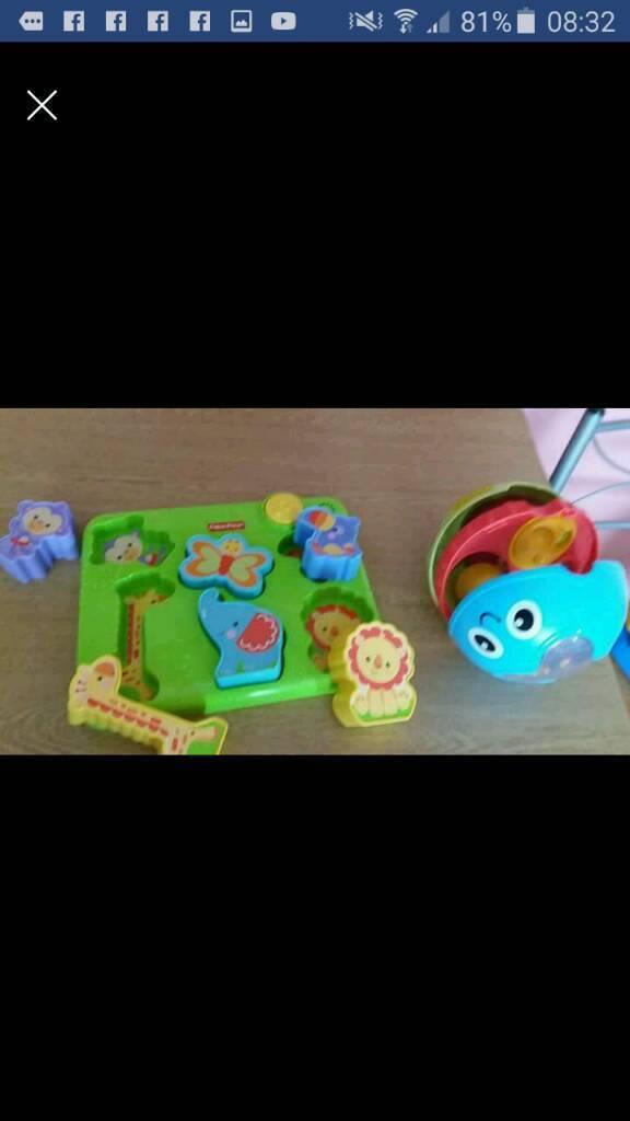 Fisher price musical jungle shape jigsaw & playskool grow activity ball toddler toys