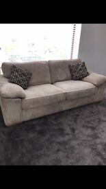 3 Seater Cream Cord Sofa