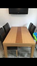 Oak dining table plus 6ml toughened glass top (glass top brand new) ( chairs not included)