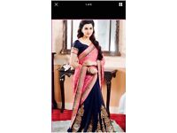 Pink and navy saree