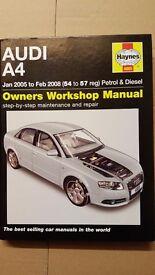 Almost new Audi A4 Haynes manual- Jan 05 to Feb 08 petrol &diesel