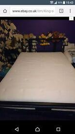 King size bed frame with mattress black metal