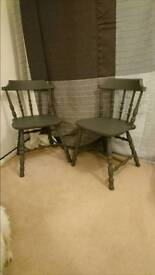 Pair of solid wooden chairs