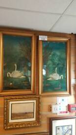 Pair beautiful large antique crystoleum paintings