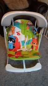 Fisherprice takealong swing and vibrating baby bouncer.