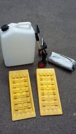 Motorhome accessories icluding wheel ramps, 25 ltr water carrier, trolley & screen protector £55 ono