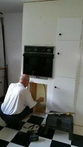 Moffat wall oven and countertop stove