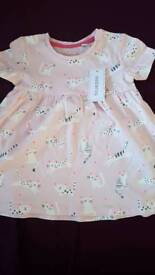 0-3 months cat print dress, brand new with tags